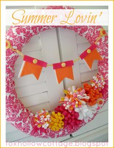 Hot Pink Summer Pool Noodle Wreath - Fox Hollow Cottage