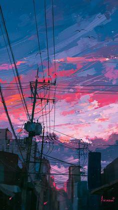 waneella is creating pixel art Anime Scenery Wallpaper, Aesthetic Pastel Wallpaper, Landscape Wallpaper, Aesthetic Backgrounds, Aesthetic Wallpapers, Wallpaper Backgrounds, Vintage Desktop Wallpapers, Sky Aesthetic, Aesthetic Anime
