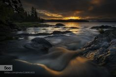 Evening light by akcharly  Alaska Ketchikan clouds coastline long exposure ocean rocks sea seascape sunset water Evening light