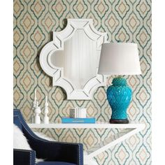 Lavoie Turquoise Trellis Ceramic Table Lamp