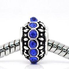 Royal Blue Rhinestone Birthstone Charm Spacer Beads For Snake Chain Charm Bracelet