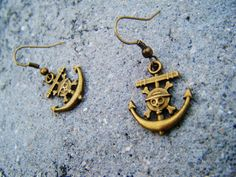 One Piece Anime Anchor Earrings by SuperfastSpider on Etsy, $4.99