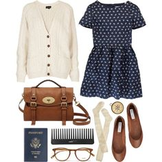 A fashion look from July 2013 featuring blue floral print dress, cream top and cable knit over the knee socks. Browse and shop related looks.
