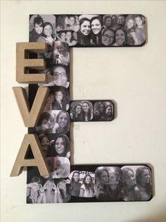 Letra inicial de madera con fotos pegadas. Regalo que hice para una amiga.