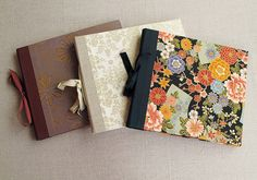 """IONA BINDING - Handmade album that measures 10,2"""" x 8,8"""". Covered with Japanese fabric or paper."""