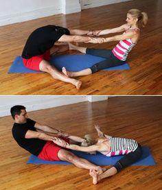 Partner Wide-Leg Seated Forward Bend - Hatha Yoga Poses for Couples - Shape Magazine