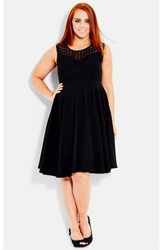 City Chic Crochet Yoke Fit & Flare Dress (Plus Size) available at #Nordstrom