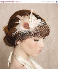SALE Ivory Blush Bridal Head Piece Feather by GildedShadows, $49.50