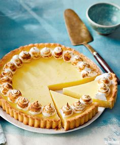 This zesty tart is everything you could want in a refreshing spring dessert. Spring Desserts, Lemon Desserts, Lemon Recipes, Tart Recipes, Sweet Recipes, Dessert Recipes, Lemon Custard Tart, Lemon Meringue Tart, Lemon Tarts