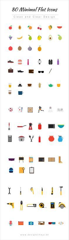 Free 80 Minimal Flat Icons