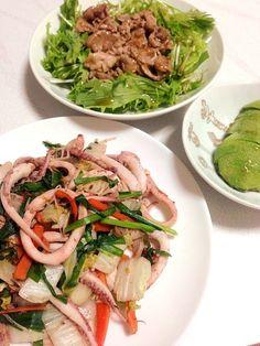炒めるだけのご飯〜(°_°) - 15件のもぐもぐ - スルメイカ野菜炒めと肉サラダ by naho7