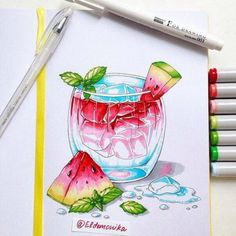 Watermelon summer drink copic markers drawings dibujos con m Marker Kunst, Copic Marker Art, Copic Art, Sketch Markers, Copic Markers, Copic Drawings, Cute Drawings, Copic Kunst, Summer Drawings