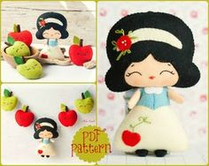 PDF. The snow white garland pattern. Fairy tale pattern. Plush Doll Pattern, Softie Pattern, Soft felt Toy Pattern. by Noialand on Etsy https://www.etsy.com/listing/152541182/pdf-the-snow-white-garland-pattern-fairy
