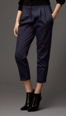 Burberry Stretch Wool Blend Slim Fit Trousers Pleat Detail Cotton Silk Trousers