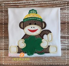 Baby Kay's Appliques - Sock Monkey boy with Clover 4x4, 5x7, 6x10, 8x8, $1.50 (http://www.babykaysappliques.com/sock-monkey-boy-with-clover-4x4-5x7-6x10-8x8/)