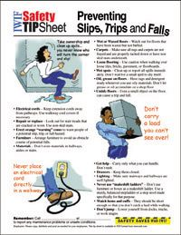 safety tips to prevent slips, trips, and falls.
