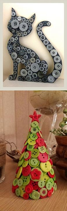 Cute button cat and button Christmas tree.