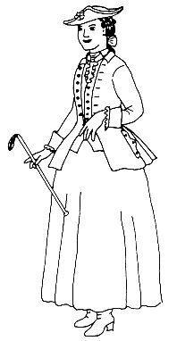 Diese Packung enthält Schnittmuster für eine Reitjacke und eine passende Weste, außerdem eine Anleitung zur Herstellung des Rockes. Das Kostüm ist im Zuschnitt an die Herrenmode der 1760er-1770er J…