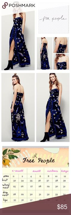 """Free People Rinjani Halter Maxi Dress.  NWOT. Free People Rinjani Floral Printed Maxi Dress, 100% rayon, washable, 30"""" all around armpit which stretches up to 37"""", 52"""" length, 28"""" front slit, floral printed maxi dress featuring button closures down the front and front tie that can convert to halter style, hip pockets with a statement front slit, elastic smocked band at back for easy fit, measurements are approx.  New without tag, never worn.  NO TRADES Free People Dresses Maxi"""