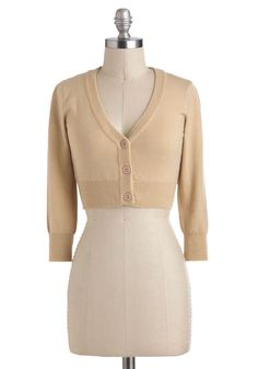 The Dream of the Crop Cardigan in Oatmeal - Short, Tan, Solid, Buttons, Work, Long Sleeve, Minimal
