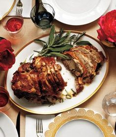 Herb-Roasted Pork Shoulder   What's more wonderful than an evening around the table with good friends? This easy-to-execute game plan ensures that the meal will be delicious, the company delightful, and the host (that's you) relaxed, happy, and nowhere near the kitchen.