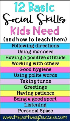 Basic social skills kids and teens need along with several activities for how to teach them Use these free ideas to help students improve skills for listening taking turn. Social Skills Lessons, Social Skills For Kids, Social Skills Activities, Teaching Social Skills, Social Emotional Learning, Life Skills Kids, Character Education Lessons, Listening Activities For Kids, Childcare Activities