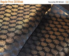 15% OFF Brocade Fabric in Black and Golden Jari Paisley Pattern Chanderi Silk Fabric - Wedding Dress Fabric sold by yard