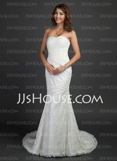Mermaid Sweetheart Court Train Satin Lace Wedding Dress With Ruffle (002000460) - JJsHouse