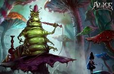 View an image titled 'Caterpillar & Alice Art' in our Alice: Madness Returns art gallery featuring official character designs, concept art, and promo pictures. Lewis Carroll, Alice In Wonderland Artwork, Character Art, Character Design, Alice Liddell, Theme Tattoo, Alice Madness Returns, Adventures In Wonderland, Creature Design