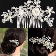 Flower hair comb  Clear rhinestone floral hairpiece. Brand new! Perfect for homecomings, proms, and weddings or bridal events! Accessories Hair Accessories