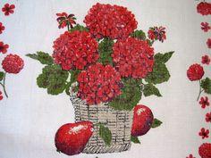 Vintage GERANIUMS Tea Towel   Red Flowers Apples Dish Towel   True  Friendship Gentility   Red