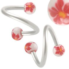 $8.5 16g 16 gauge (1.2mm),3/8 Inches 10mm long - surgical steel eyebrow lip bars with Hand Painted balls HP4ear tragus Twist earring rings spiral Barbells AOFN- Pierced Jewelry Body Piercing Jewellery- Set of 2From bodyjewellery $8.5