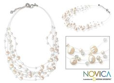 Pearl strand necklace, 'Ivory Fishnet'