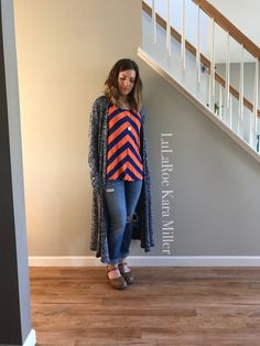 LuLaRoe striped Classic tee with Sarah Cardigan and Dansko clog sandals for summer fashion trends and style inspiration! Shop here: https://www.facebook.com/groups/LularoeKaraMiller/