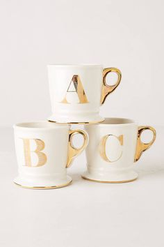 Anthropologie Limited Edition Golden Monogram Mug