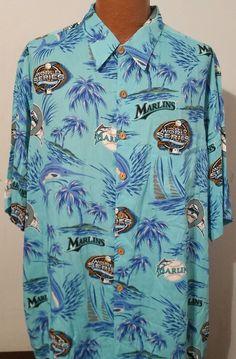 0c7cd2d2 Reyn Spooner Florida Marlins Hawaiian Shirt MLB World Series 100th 2003  Mens 2XL