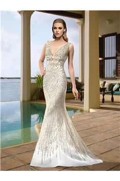 Beading Trumpet/Mermaid Spring All Sizes Sweep/Brush  Floor-Length Sleeveless Backless Wedding Dress