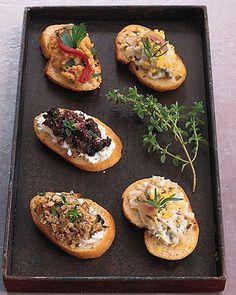 A good-quality jarred tapenade -- a salty olive paste -- makes these hors d'oeuvres a breeze to put together.