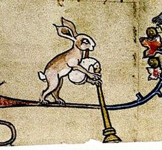 Hare with Bagpipe. In medieval marginalia the hare is often shown playing a rather suggestively shaped bagpipe.  detail Flemish c.1320-30.  Bodl_Douce5 by tony harrison, via Flickr