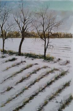 Winter on the Piemonte in northern Italy. Pastel on rag board.