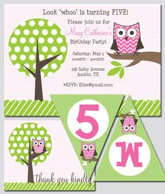 some of my good friends started this business! isn't this owl themed party so cute!?  Owl Birthday Party Printable by thinkRSVP on Etsy, $30.00