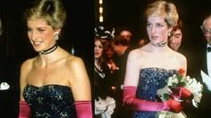 Princess diana wearing a murray arbeid dress at the phantom of the