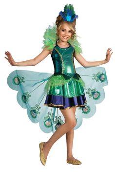 Rubies Peacock Pfau Mädchen Kinder Kostüm Kleid Schleppe Fasching Karneval: Größe: L