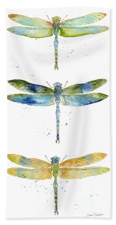 Dragonfly Painting, Dragonfly Art, Dragonfly Drawing, Watercolor Animals, Watercolor Paintings, Watercolor Dragonfly Tattoo, Watercolour, Watercolor Tattoos, Insect Art