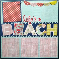 premade scrapbook finished double page  layout  by urbansavanna life's a beach