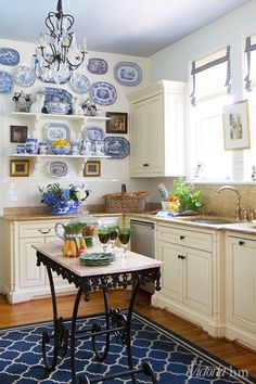 45 Inspiring Blue And White Kitchen Ideas To Love. Sometime last year in the blue and white kitchen trend took off. Decorators all over the United States wearer securing grey, blue and white sha. Kitchen On A Budget, New Kitchen, Kitchen Decor, Kitchen Counters, Kitchen Ideas, Kitchen Craft, Kitchen Design, Tudor Cottage, White Cottage