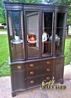Simply Salvaged: Black & Bronze {China Cabinet} Before & After