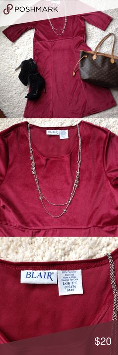 Burgundy Velour 3/4 sleeve dress Length is 44 inches, pull over head, no zippers, no buttons Blair Dresses Midi