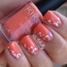 orange and pastel nail dot art