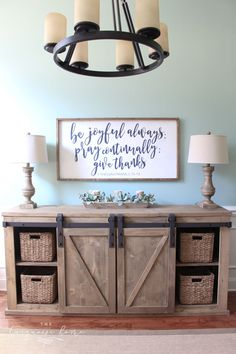 DIY Farmhouse Media Console Table - all the plans to make it yourself! DIY Farmhouse Media Console Table - all the plans to make it yourself! Farmhouse Side Table, Farmhouse Chic, Antique Farmhouse, Farmhouse Design, Farmhouse Office Storage, Farmhouse Tv Stand, Farmhouse Furniture, Diy Furniture, Bohemian Furniture